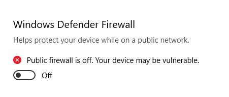 Disabled Windows Defender Firewall